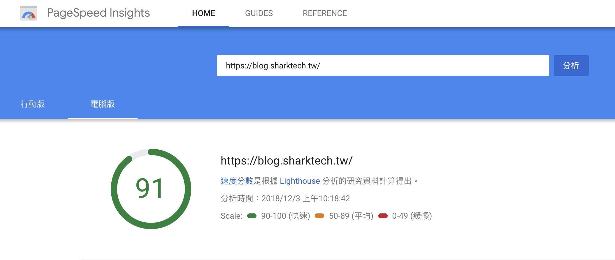 Google PageSpeed Insights檢測-鯊客科技SEO優化公司